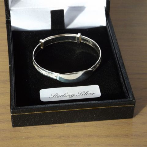 Engraved Sterling Silver New Born Baby Christening Bangle Bracelet